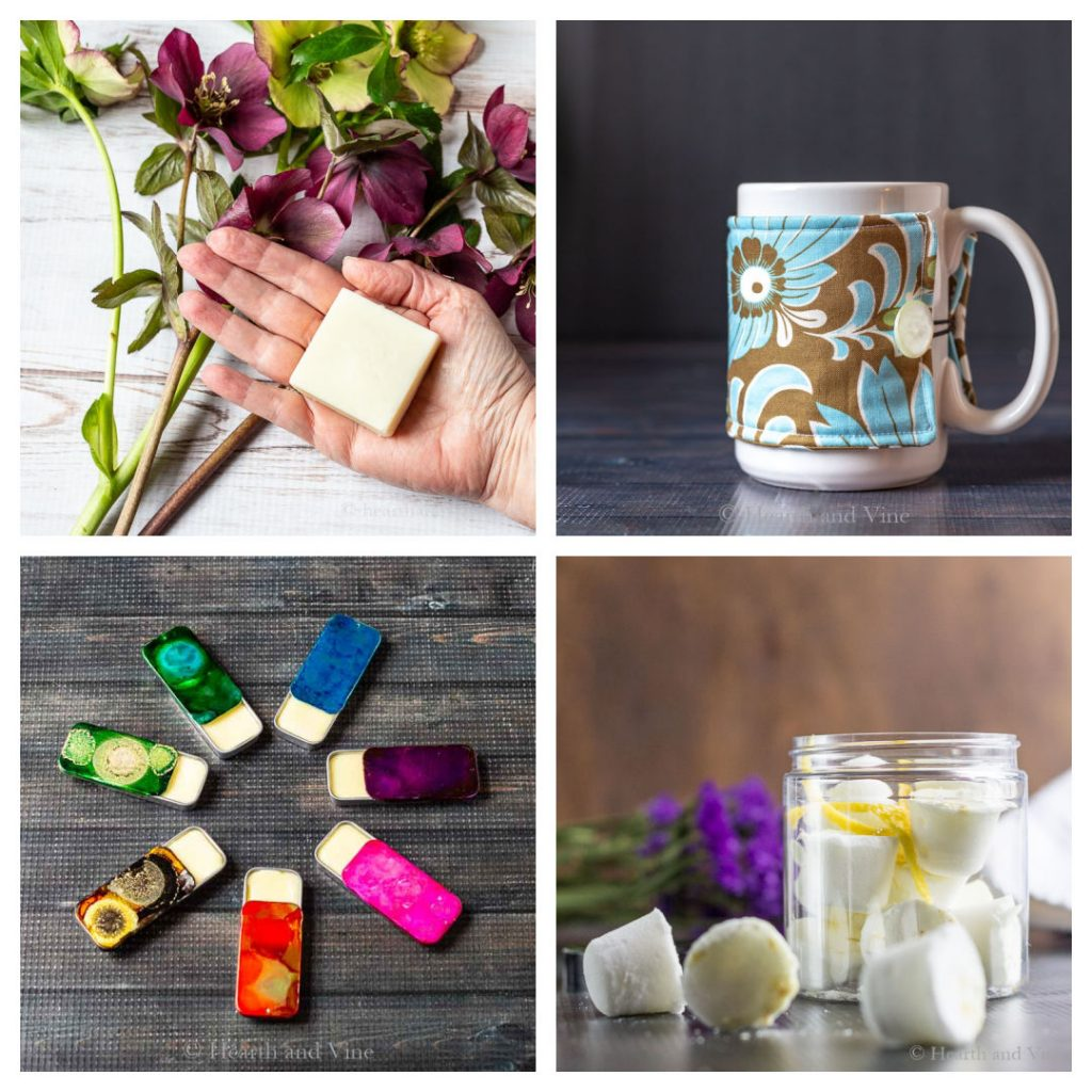 Four images in a square. A hand holding a lotion bar, a mug with a cozy, tins of solid perfume and a jar of shower steamers.