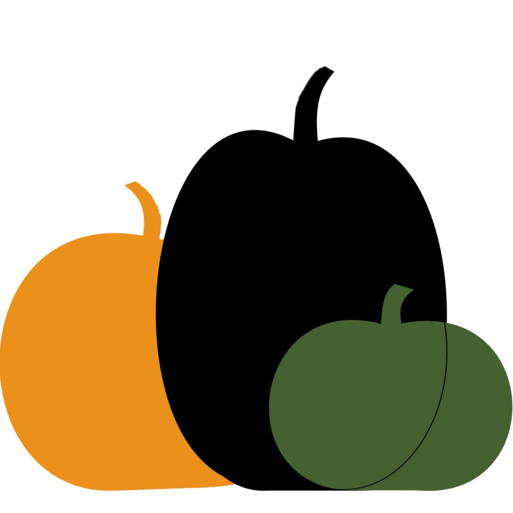 A graphic of three nestled pumpkins one in orange, one black and one green.
