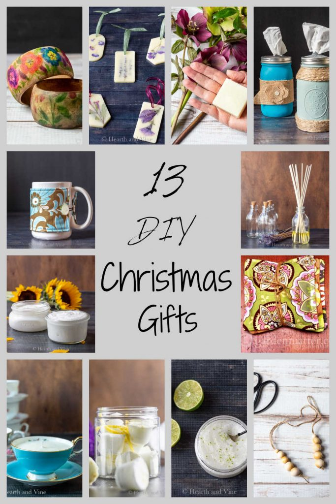 Text saying 13 DIY Christmas gifts surrounded by several images of handmade gifts including a body butter, teacup candles, wood bead diffusers, a mug cozy and more.