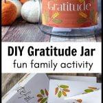 Gratitude jar and gratitude cards below.
