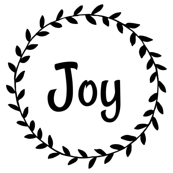 The word Joy within a wreath.