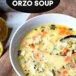 Bowl of lemon chicken orzo soup.