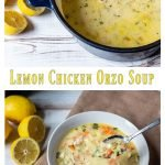 Pot of lemon chicken orzo soup on top of a bowl with a spoonful of soup.