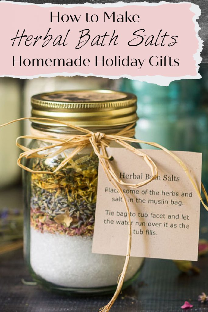 Pint size mason jar with bath salts and layers of herbs. An instruction tag is tied on with raffia.