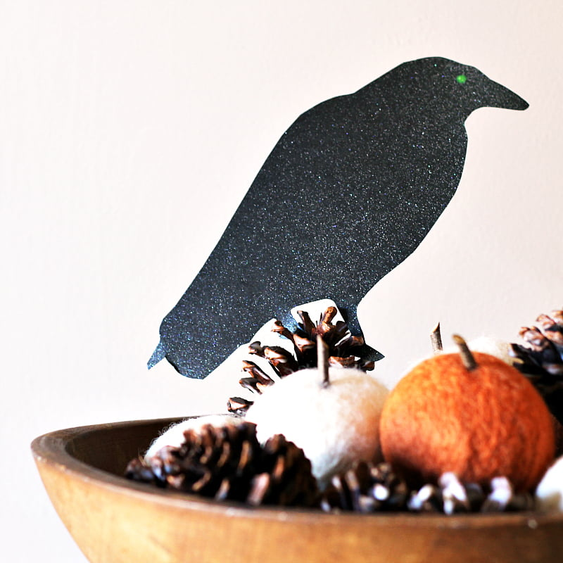 Scary bird silhouette on a bowl of pine cones and pumpkins.