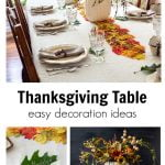 Decorated Thanksgiving table with pumpkin vase of flowers, a autumn leaf runner and fresh oak leaf name card.