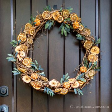Dried fruit wreath with grapevine base