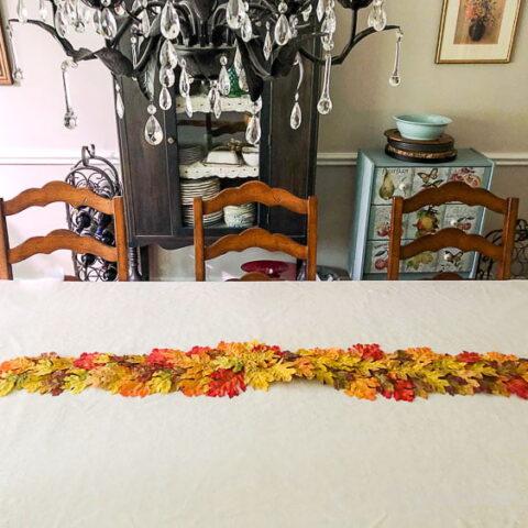 fall leaf runner on table