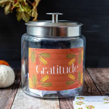 Large jar with fall colored gratitude label.