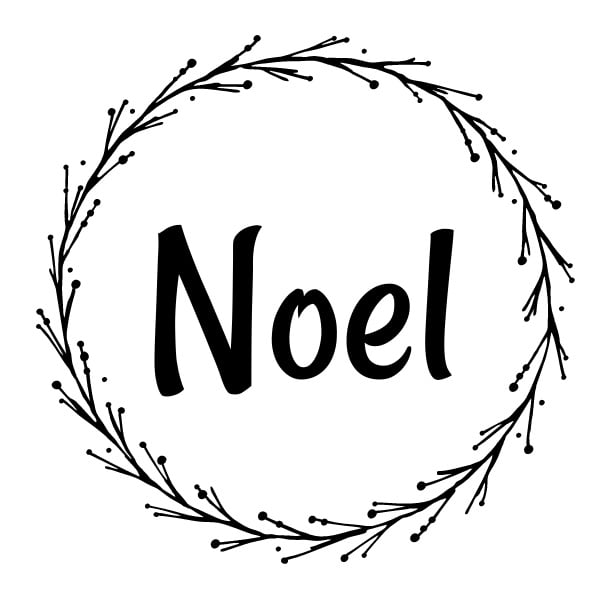 The word Noel within a wreath