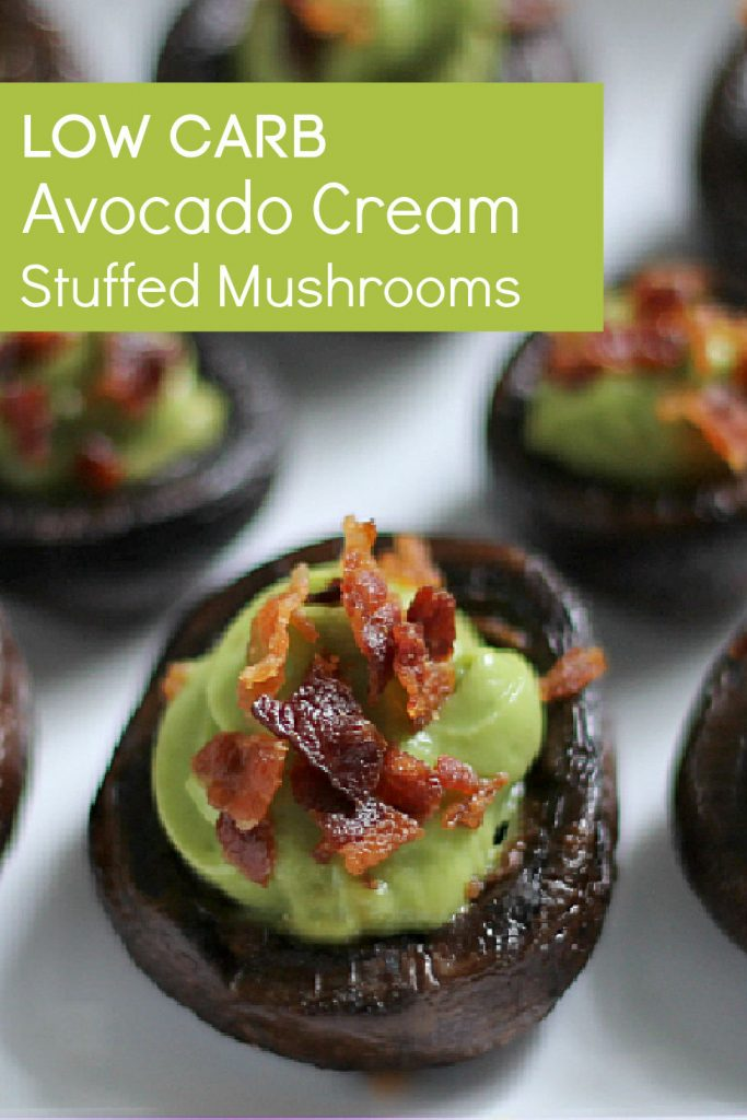 Low Carb Stuffed Mushrooms with Avocado and Bacon