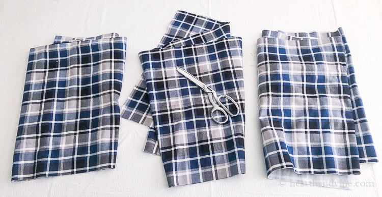 Three pieces of flannel fabric cut from one.