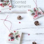 Square wax ornaments with pinecones, berries and greenery for ornaments.
