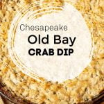 Maryland crab dip close up in a round pan.