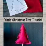 Two images. Top shows paper tree template next to red fabric. Bottom is a stuffed fabric tree on a dowel rod in a burlap sack.