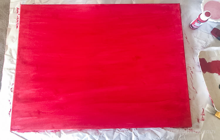 18 x 24 canvas painted red.