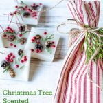 Wax Christmas tree scented ornaments next to a red and white striped bag.