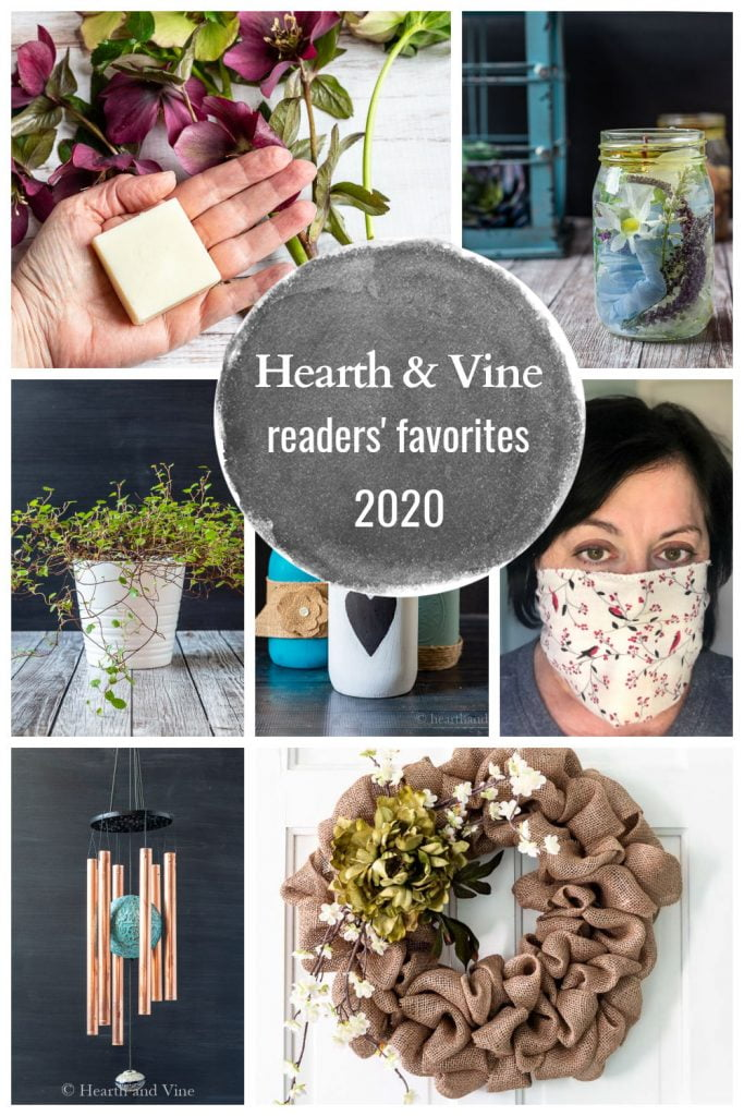 Collage of top readers' favorite posts during 2020 at Hearth and Vine.