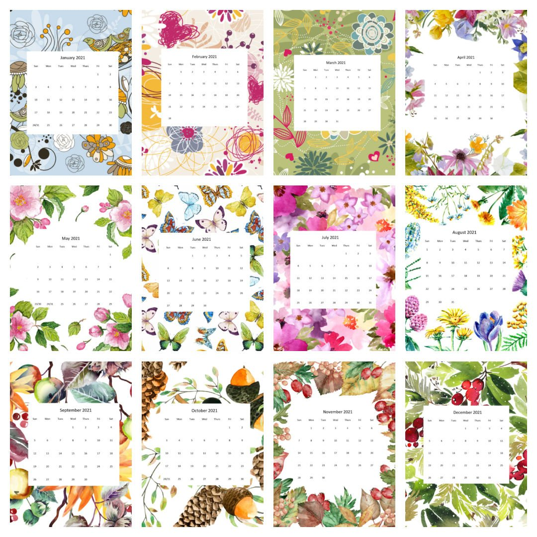 2021 Calendars by the Month - Free to Print and Use