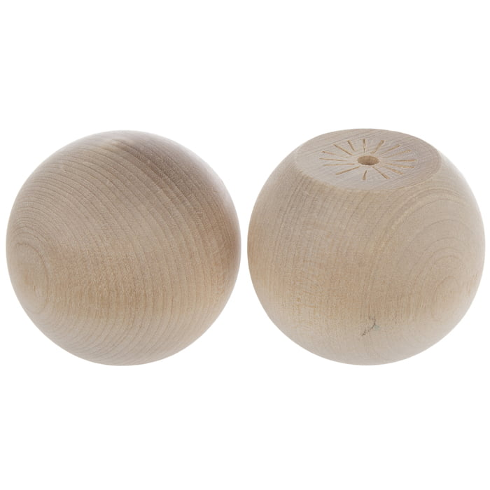 """Wood Ball Knobs With 3/16"""" Hole - 2"""""""