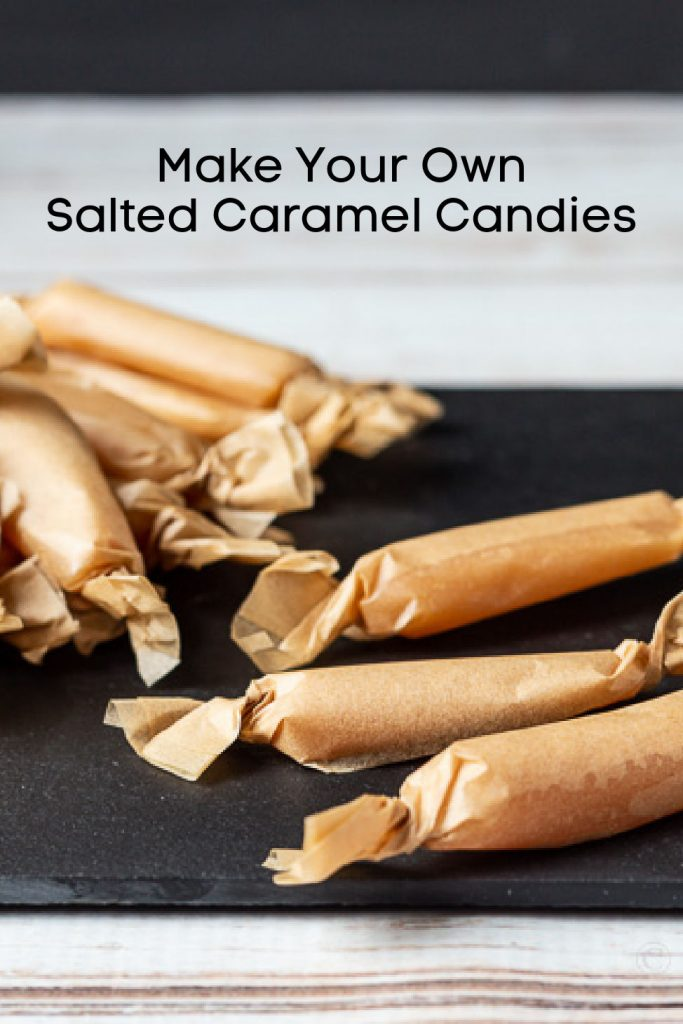 Brown parchment paper used to wrap homemade salted caramel candies.