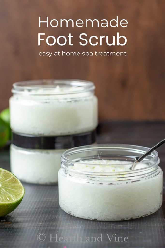 Jars of lime and bergamot salt foot scrub.