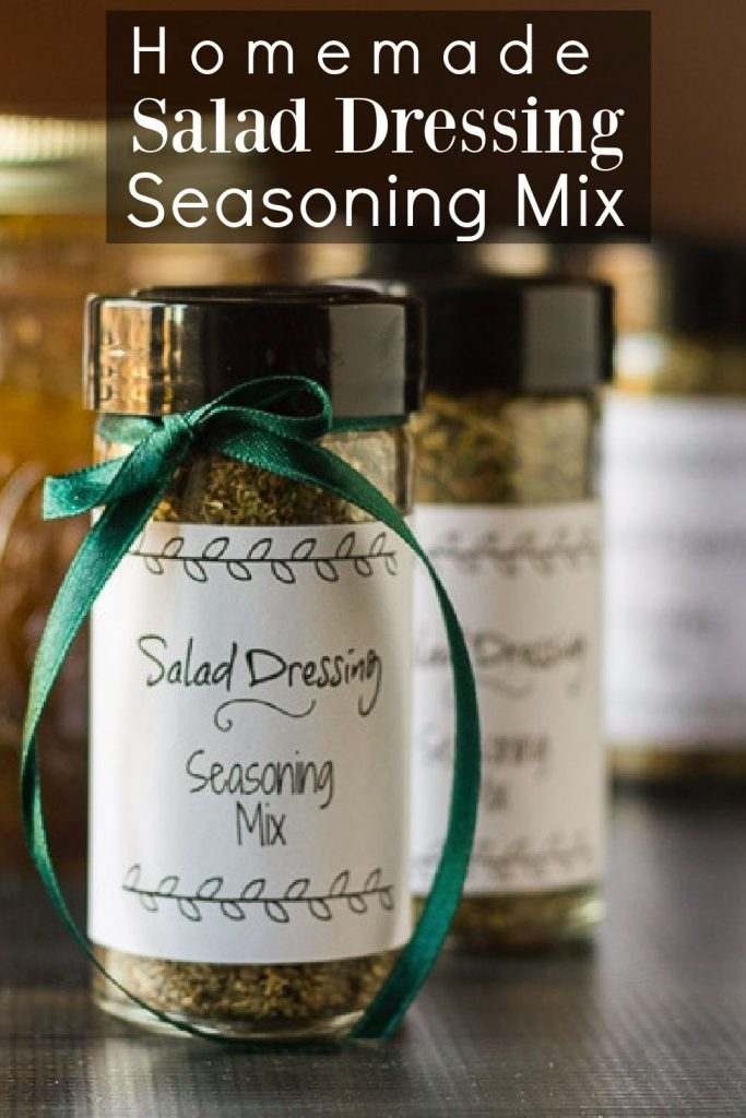 Small bottle of salad dressing seasoning mix  with a green bow.