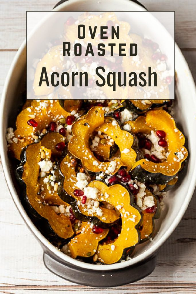 Roasted acorn squash slices with pomegranate seeds, pine nuts, pepitos and queso fresco cheese.