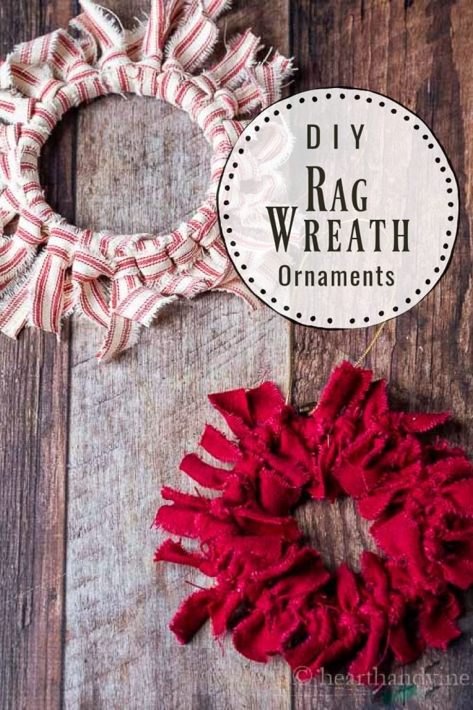 Two rag wreath ornaments. One is red and white striped and the other dark red flannel.