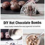 Wrapped hot chocolate bomb, bomb in cup and hot chocolate with marshmellows