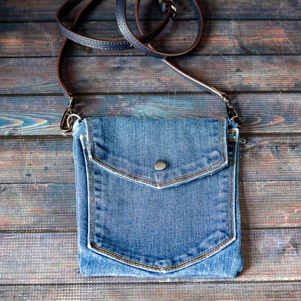 Blue jean crossover bag