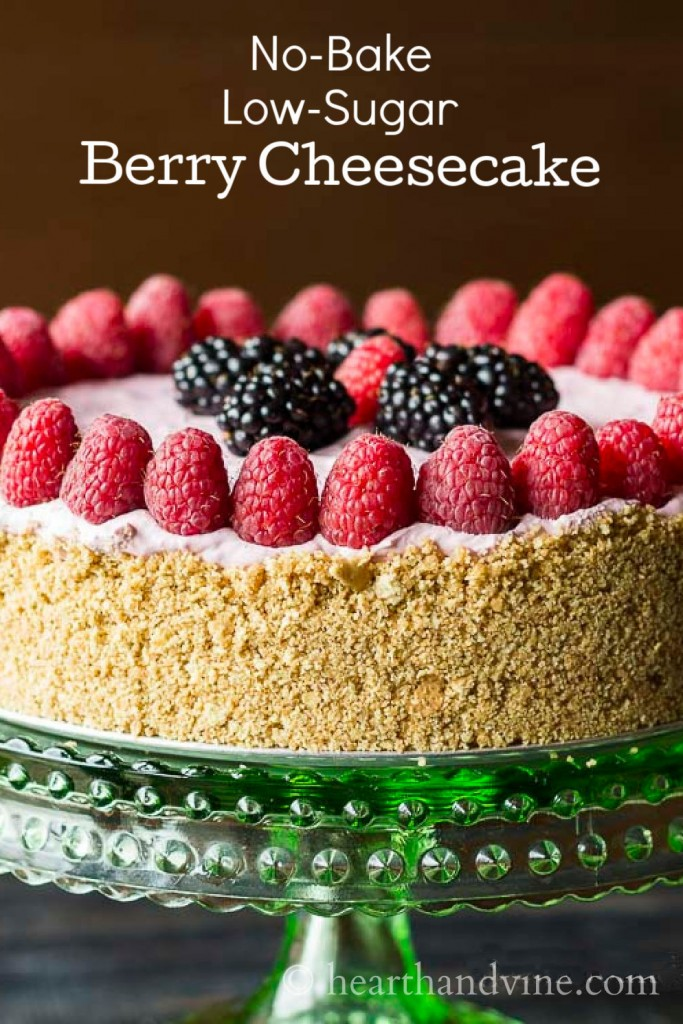 A beautiful fresh berry decorated cheesecake that is no-bake and low-sugar.