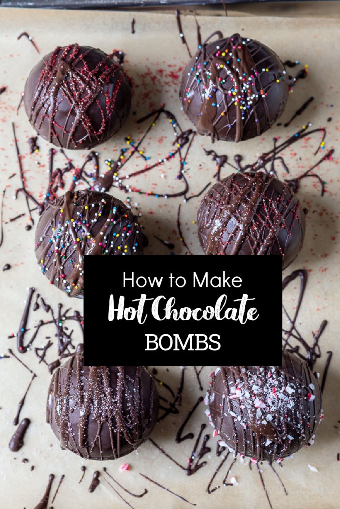 """Decorated hot chocolate bombs with a text overlay saying, """"How to Make Hot Chocolate Bombs."""""""
