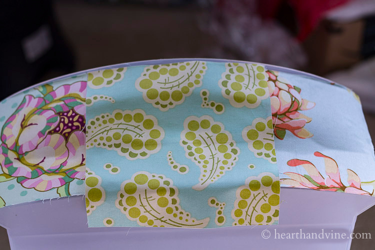Fabric with glue placed on the center of the drawer.