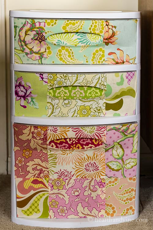 Completed fabric covered 3 drawer chest.