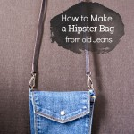 Denim crossbody bag with leather strap