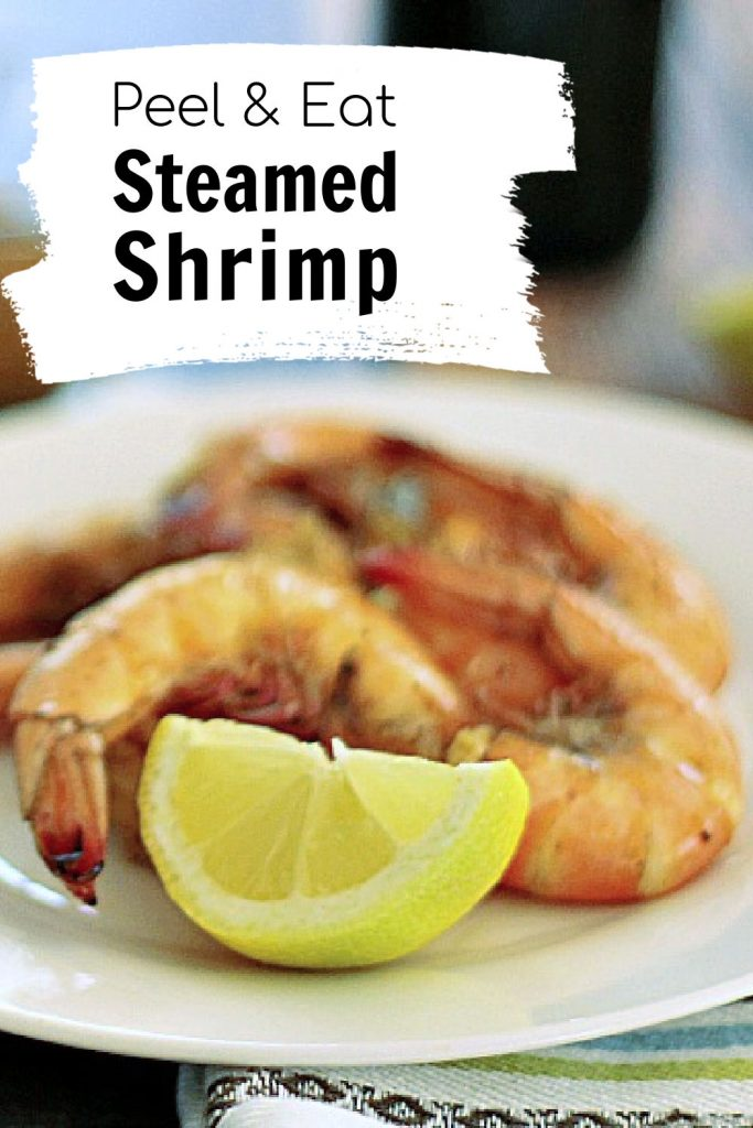 Shell on peel and eat steamed shrimp with Old Bay seasoning.