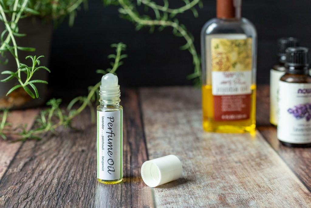 Open roll-on perfume oil bottle.