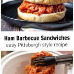 Ham barbecue sandwich over a slow cooker with barbecued ham in tongs.