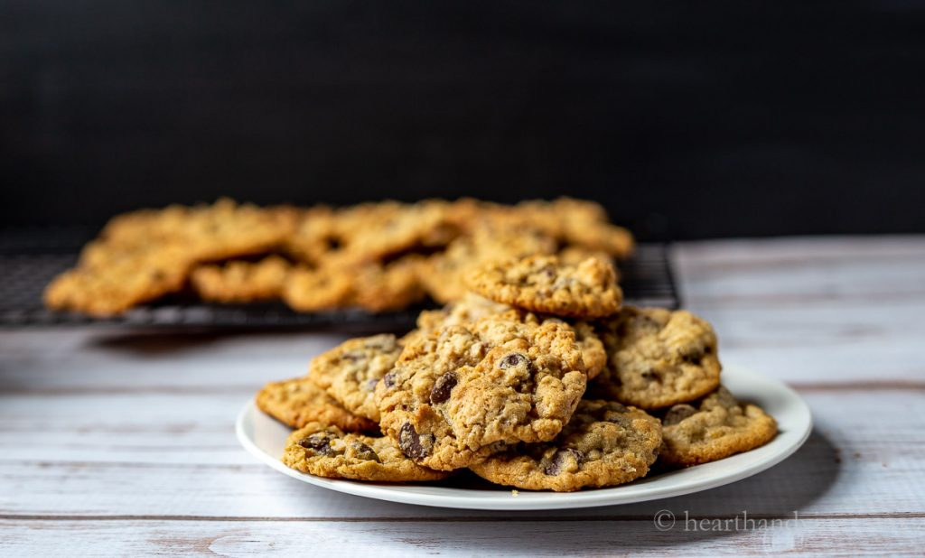 Plate of cookies piled high.