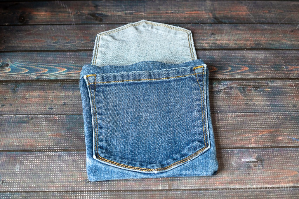 Hipster jean bag finished without strap.