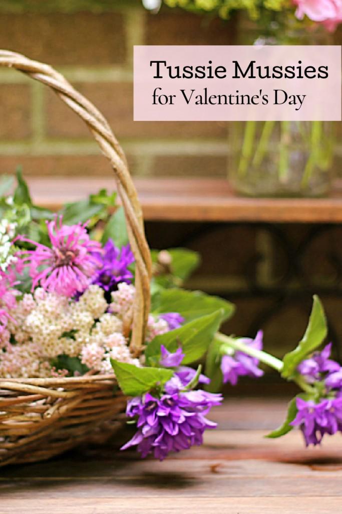 Basket of garden flowers to make tussie mussies