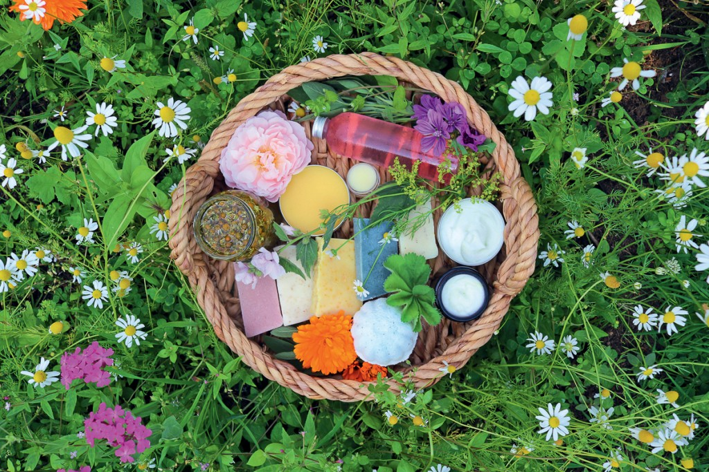 Basket of handmade soaps and creams.