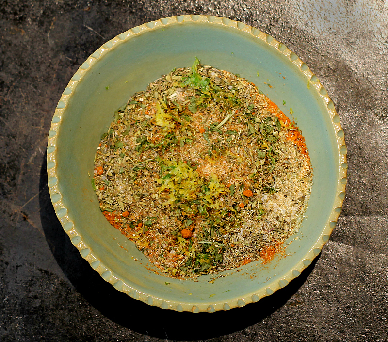 Bowl of spices and citrus zest.