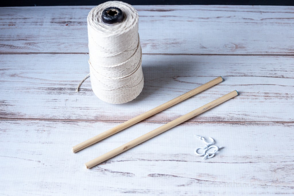 Kitchen twine, dowel rods and cup hooks