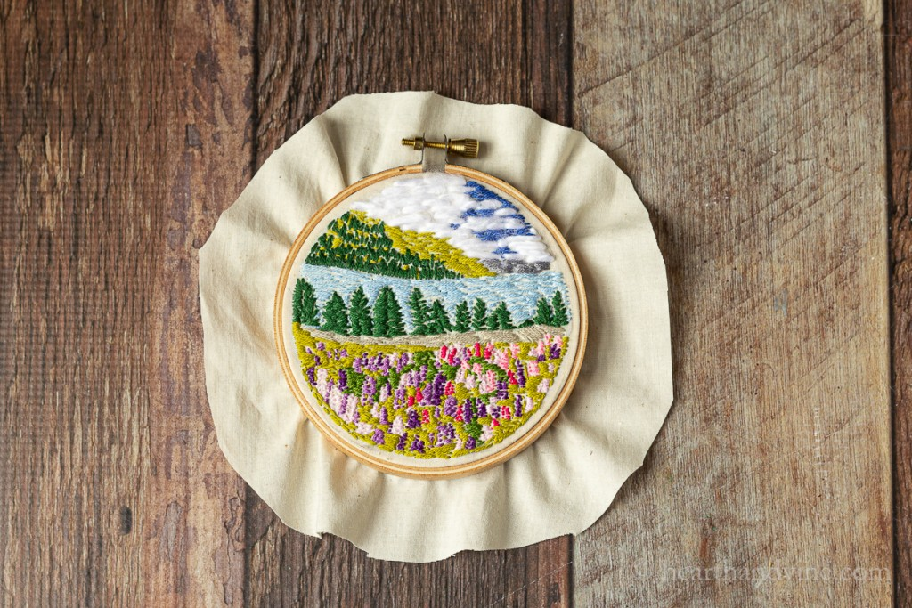 Completed hoop art embroidery.