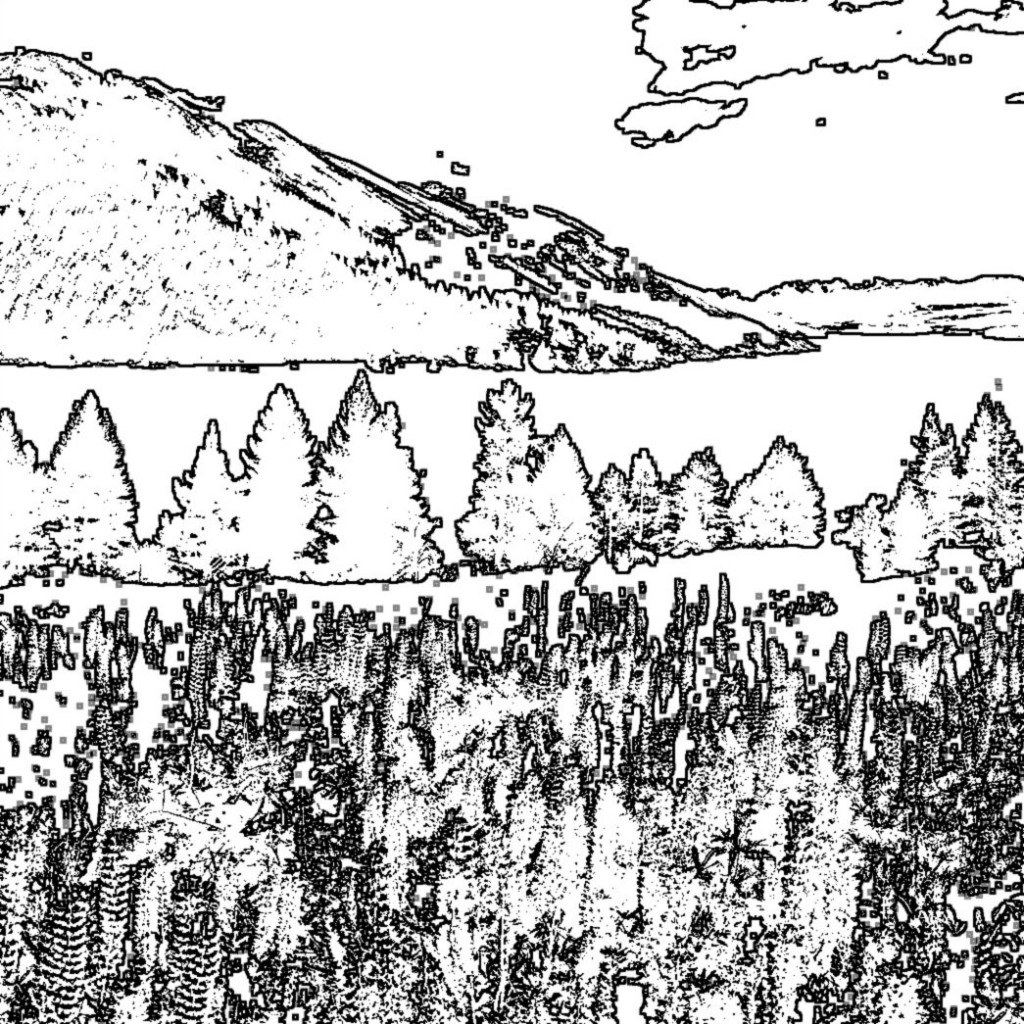 Black and white coloring book image of a landscape of mountains, a lake and evergreens with flowers in  the foreground.