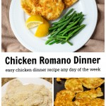 Three images. Top is a plate of chicken Romano with lemons and green beans. Bottom left is bread chicken cutlets and right is the same chicken fried.