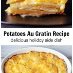 Serving of potatoes au gratin over an entire baking pan.