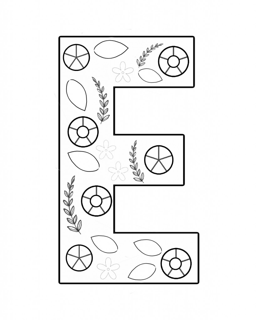 Graphic print of an E with circle and leaf shapes to use as a embroidery pattern.